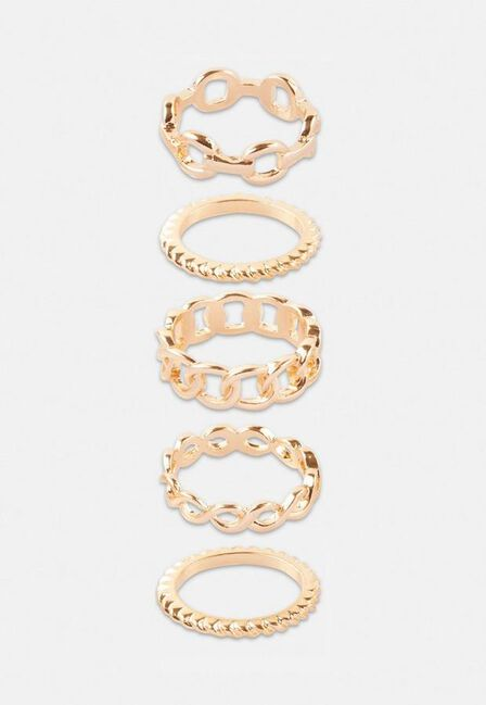 Missguided - Gold Look Multi Chain Rings 5 Pack, Women