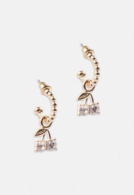 Missguided - Gold Gold Look Mini Cherry Hoop Earrings