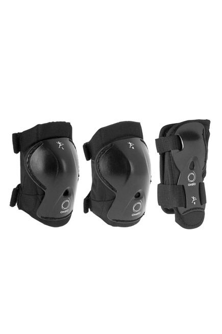 OXELO - Play Kids' 3-Piece Skating Skateboarding S0cooter Protective Gear - Black, XS