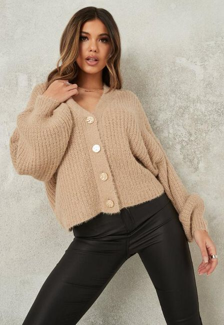 Missguided - Stone Fluffy Textured Knit Cardigan
