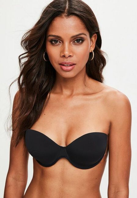 Missguided - Black Secret Winged Stick On Strapless Bra
