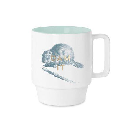 DESIGNWORKS INK - Designworks Stackable Ceramic Mugs Dam It