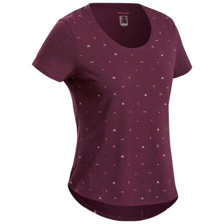 QUECHUA - Medium  Women's Country Walking T-shirt - NH500, Bordeaux
