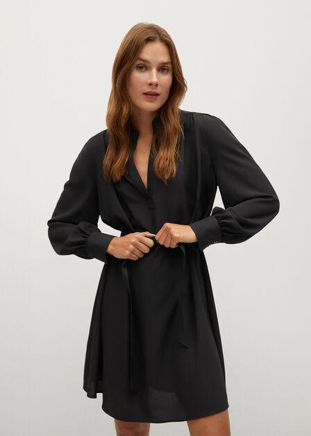 Mango - black Belt shirt dress