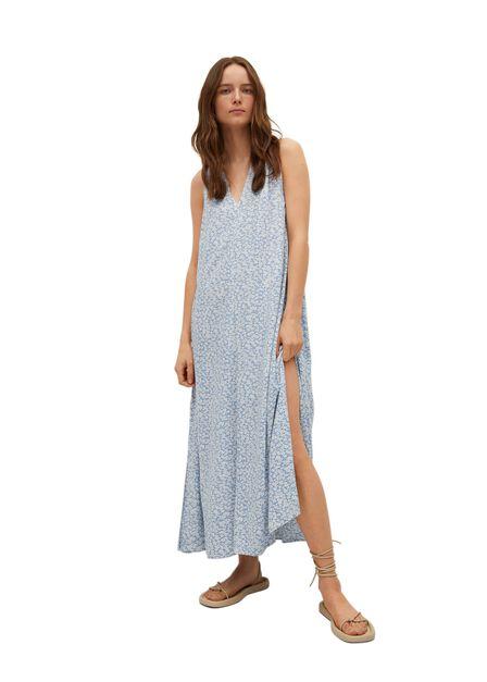 Mango - Medium Blue Flowy Printed Dress, Women