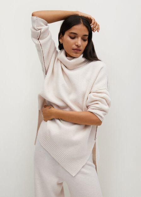 Mango - light beige Contrast seam trousers