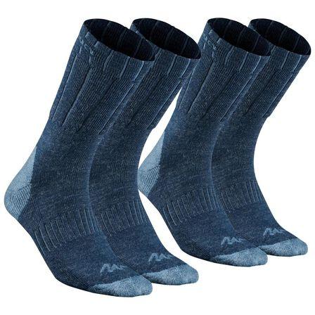 QUECHUA - EU 35-38  Adult Warm Mid Walking Socks - SH100 X-WARM - X2 Pairs, Navy Blue