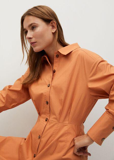 Mango - Lt-pastel orange Cotton shirt dress