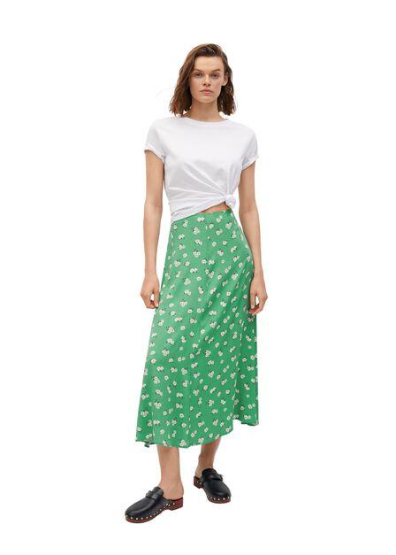 Mango - Green Printed Midi Skirt, Women