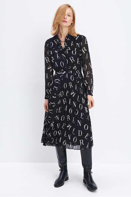 Mohito -  Patterned Dress Eco Aware - Black