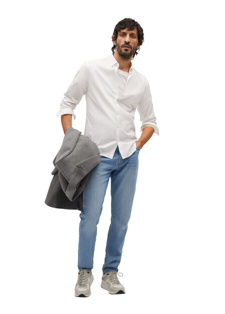 Mango - white Slim fit structured cotton shirt
