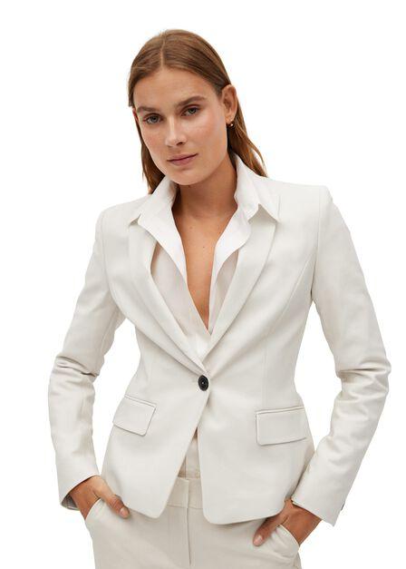 Mango - Light Beige Structured Suit Blazer