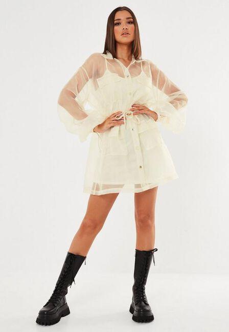 Missguided - Cream Cream Organza Utility Shirt Dress
