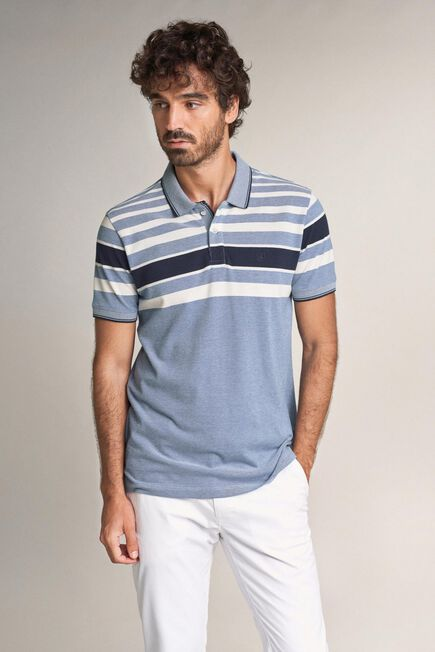 Salsa Jeans - Blue Regular fit polo shirt with stripes on chest