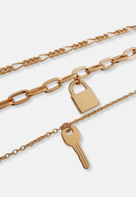 Missguided - Gold Look Key Padlock Layered Necklace