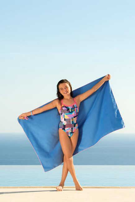 NABAIJI - Unique Size  Swimming Microfibre Towel Size L 80 x 130 cm, Blue