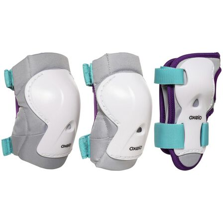 OXELO - Small  Kids' Set of Inline Skate Protectors Play, Turquoise