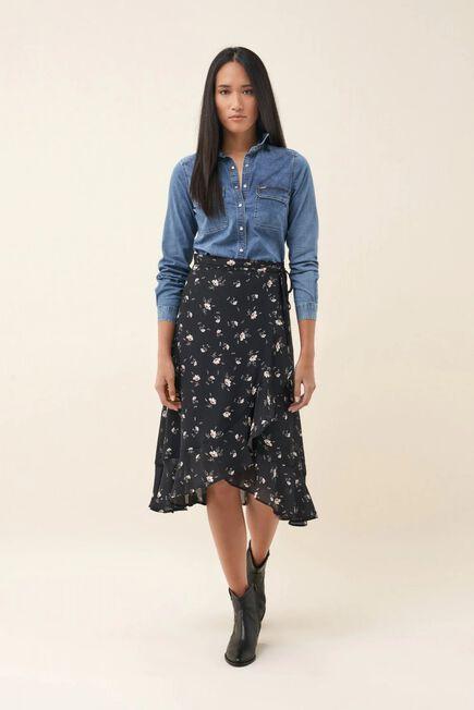 Salsa Jeans - Black Floral frilly medium skirt