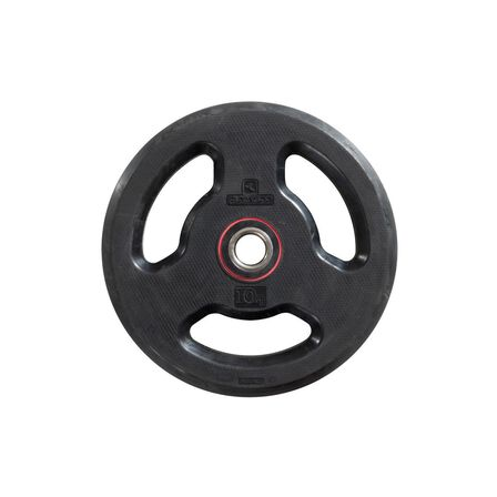 DOMYOS - 10 Kg Rubber Weight Disc With Handles 28 Mm - Black