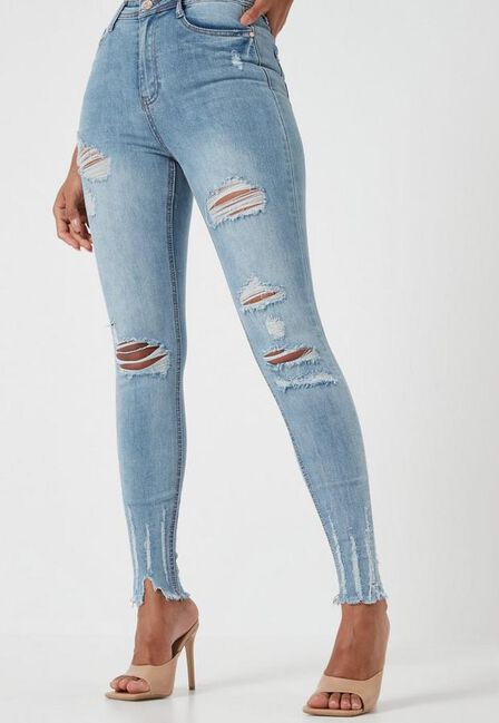 Missguided - Blue High Waist Authentic Ripped Skinny Jeans