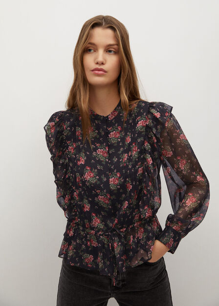 Mango - red Ruffled floral blouse