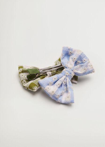 Mango - Medium Blue 2 Pack Bow Hairclip, Kids Girl