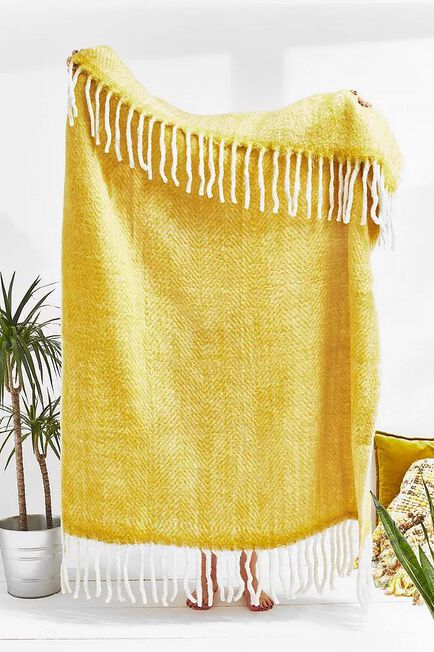Urban Outfitters - Yellow Cosy Throw Blanket
