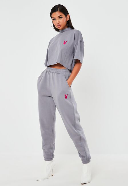 Missguided - Grey Playboy X Missguided Grey Contrast Piping Oversized Joggers