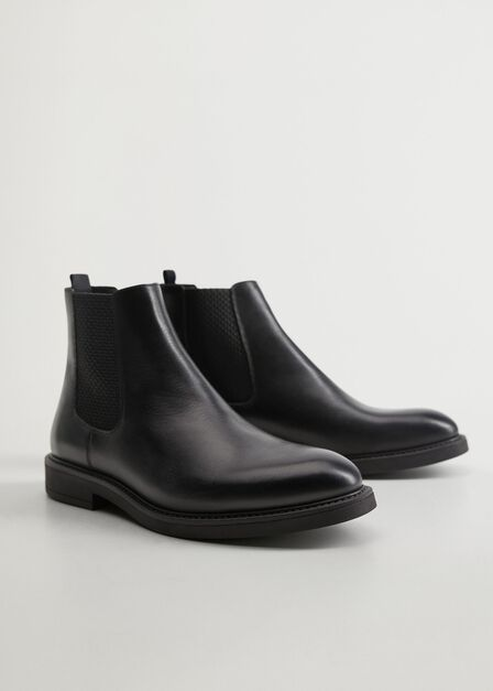 Mango - black Leather Chelsea ankle boots