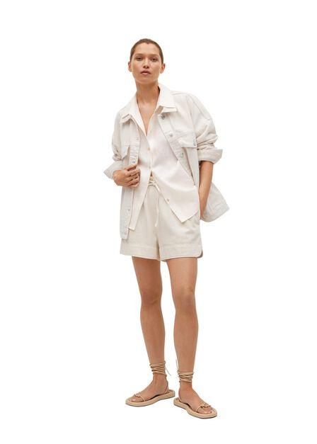 Mango - light beige Oversized denim jacket, Women