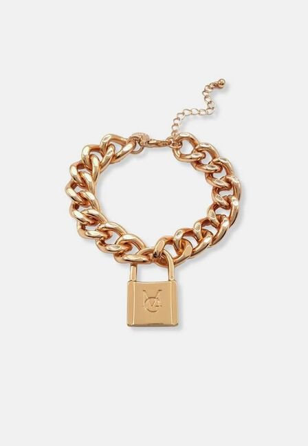 Missguided - Gold Gold Look Mg Lock Chain Bracelet