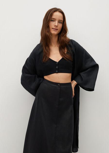 Mango - black 100% linen skirt