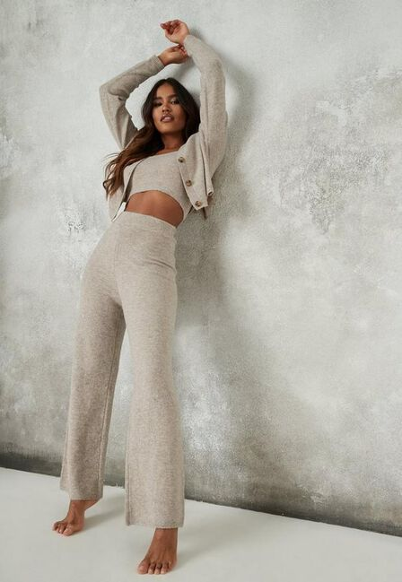 Missguided - Stone Recycled Stone Co Ord Knit Wide Leg Trousers