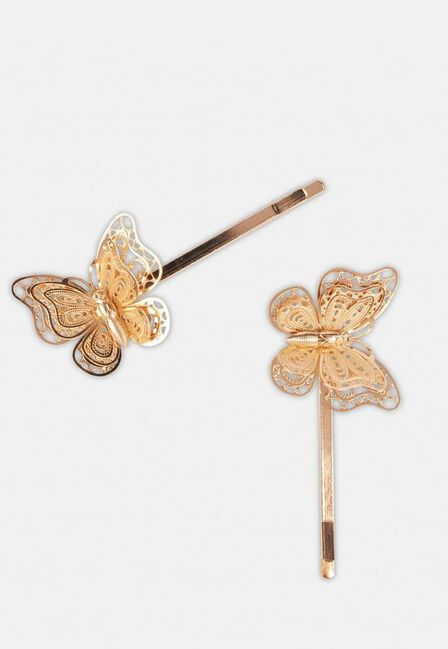 Missguided - Gold Gold Look Butterfly Hair Clips