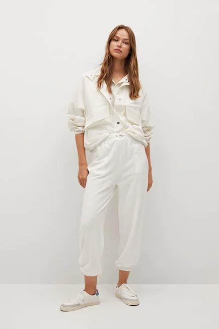 Mango - light beige Elastic waist trousers, Women