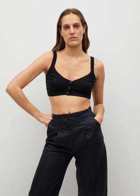 Mango - black 100% linen trousers