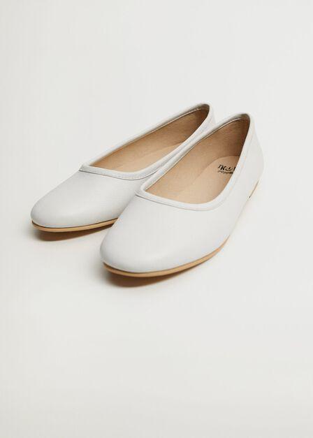 Mango - white Basic leather ballerina shoes