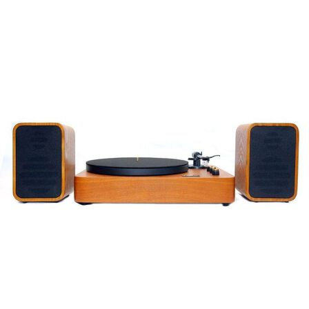 MJI - MJI MM2012 Turntable with Speakers Natural Finish