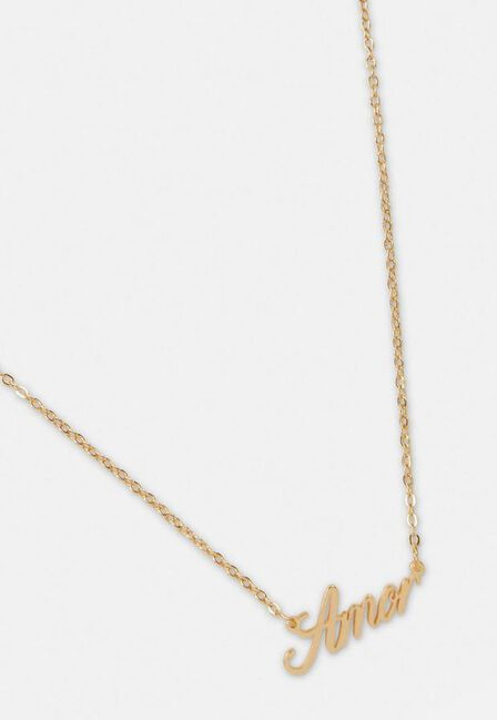Missguided - Gold Gold Look Amor Pendant Necklace
