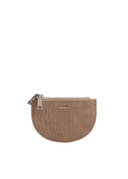 Mango - medium brown Croc- effect zipper purse, Women