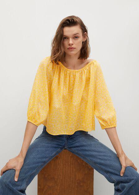 Mango - yellow Printed cotton blouse
