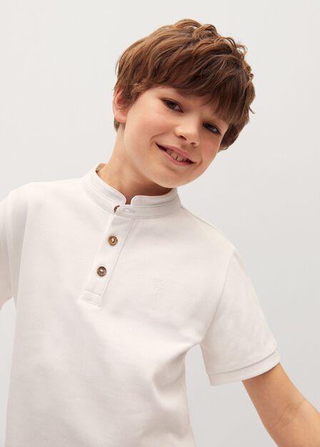 Mango - natural white Mao collar polo shirt