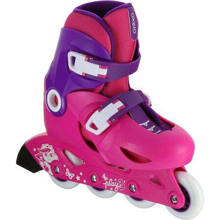 OXELO - EU 28-30  Play 3 Kids' Skates, Fluo Pink