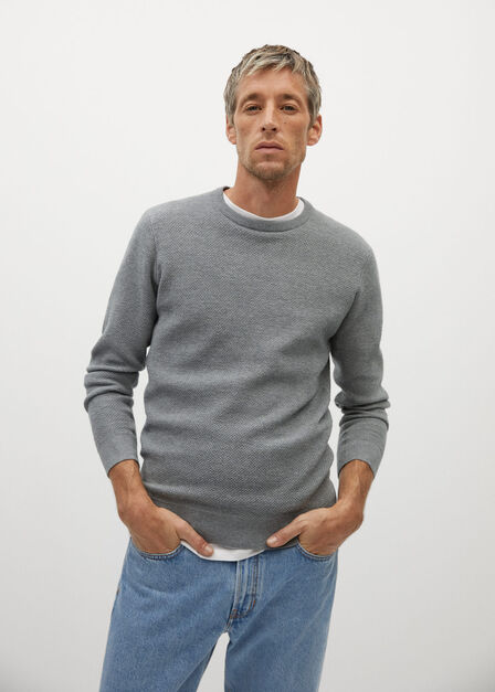 Mango - grey Structured cotton sweater