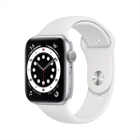 APPLE - Apple Watch Series 6 GPS 44mm Silver Aluminium Case with White Sport Band