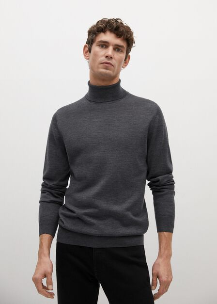 Mango - dark grey 100% merino wool washable sweater