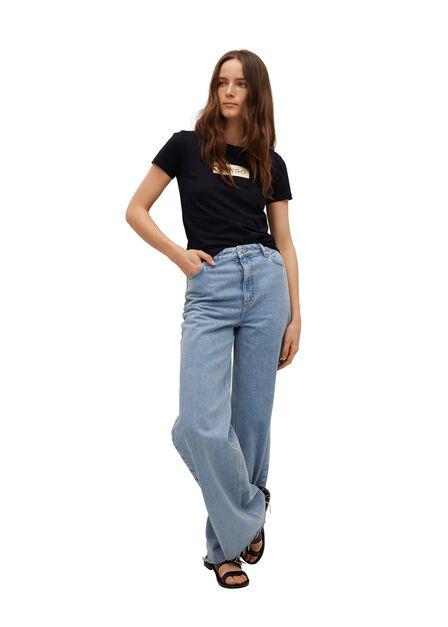 Mango - Black Logo Print Cotton T-Shirt, Women