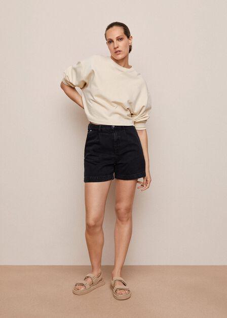 Mango - Open Grey Slouchy Pleated Shorts, Women