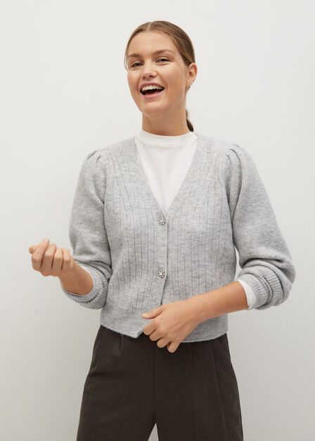 Mango - grey Knitted cardigan with jewel button