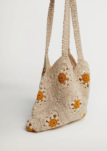 Mango - light beige Floral crochet bag